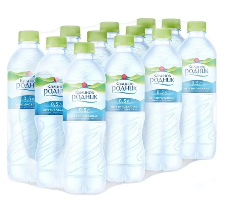 Вода Калинов Родник питьевая артезанская негазированная, 0,5л (упаковка 12шт)