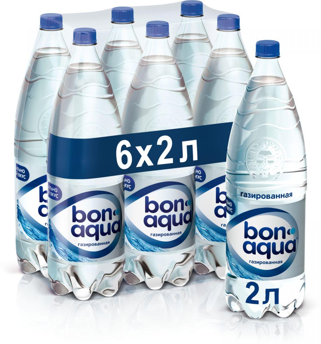 Вода Bonaqua чистая питьевая газированная, 2л (упаковка 6шт)