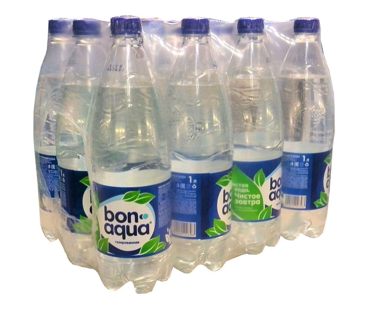 Вода Bonaqua чистая питьевая газированная, 1л (упаковка 12шт)