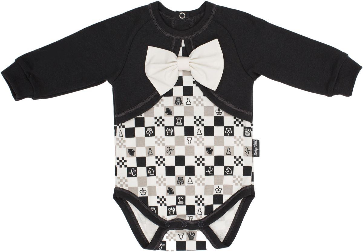 Боди Lucky Child кофта для девочки lucky child шахматный турнир цвет молочный темно серый 29 20д размер 68 74