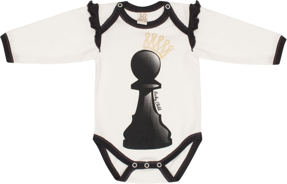 Боди Lucky Child Шахматный турнир боди для девочки lucky child шахматный турнир цвет молочный темно серый 29 19д размер 74 80