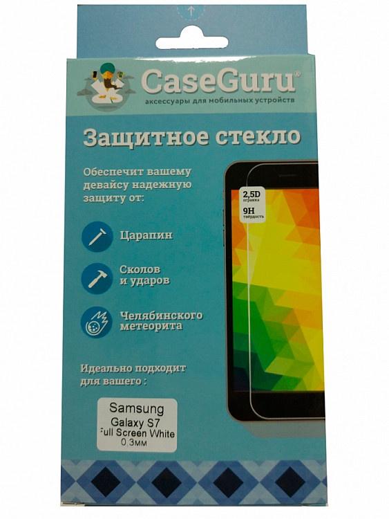 Защитное стекло для Samsung Galaxy S7 (белая рамка), белый защитное стекло caseguru 3d для samsung galaxy s7 gold