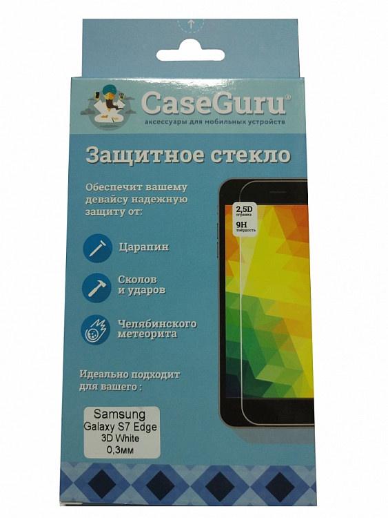 Защитное стекло для Samsung Galaxy S7 Edge (3D белая рамка), белый защитное стекло для samsung g935f galaxy s7 edge onext 3d на весь экран с серебристой рамкой