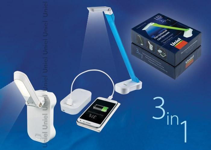 Настольный светильник Uniel TLD-530 Blue-White/LED/200Lm/6400K/PB, LED, 4 Вт настольная лампа ul 00000795 uniel tld 530 blue white led 200lm 6400k pb