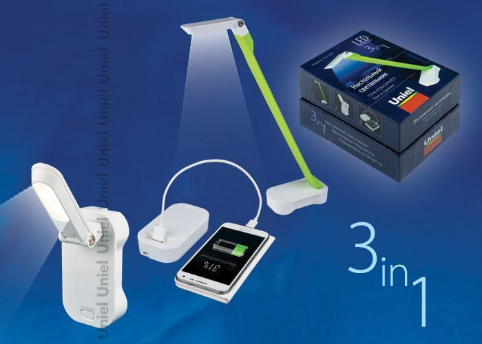 Настольный светильник Uniel TLD-530 Green-White/LED/200Lm/6400K/PB, LED, 4 Вт настольный led светильник uniel tld 531 4w 4500k белый