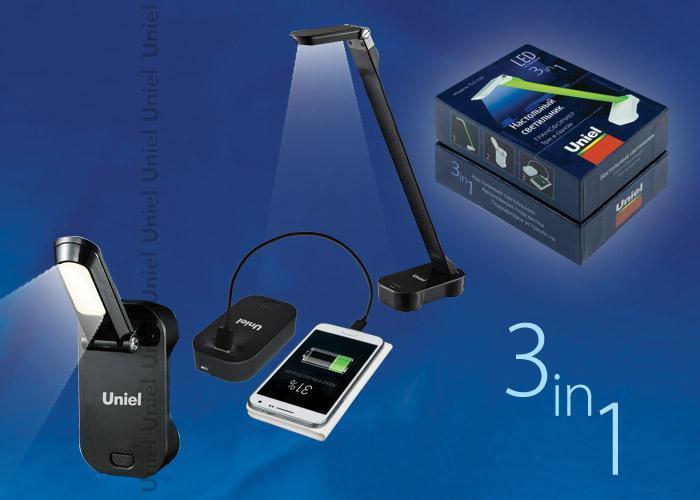 Настольный светильник Uniel TLD-530 Black/LED/200Lm/6400K/PB, LED, 4 Вт настольный led светильник uniel tld 531 4w 4500k белый