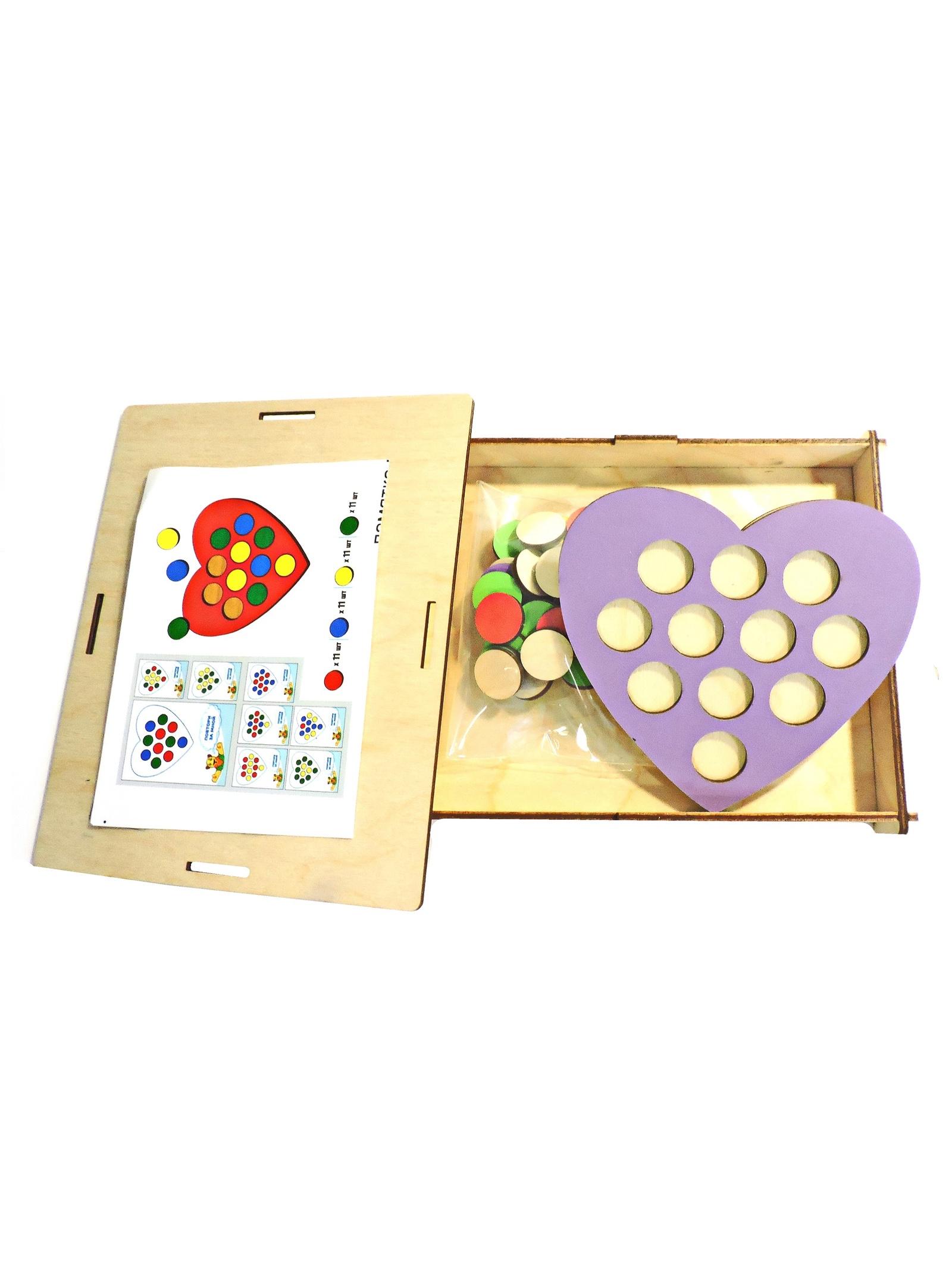 Обучающая игра Taowa Мозаика. Кружочки Сердечко. красный, синий