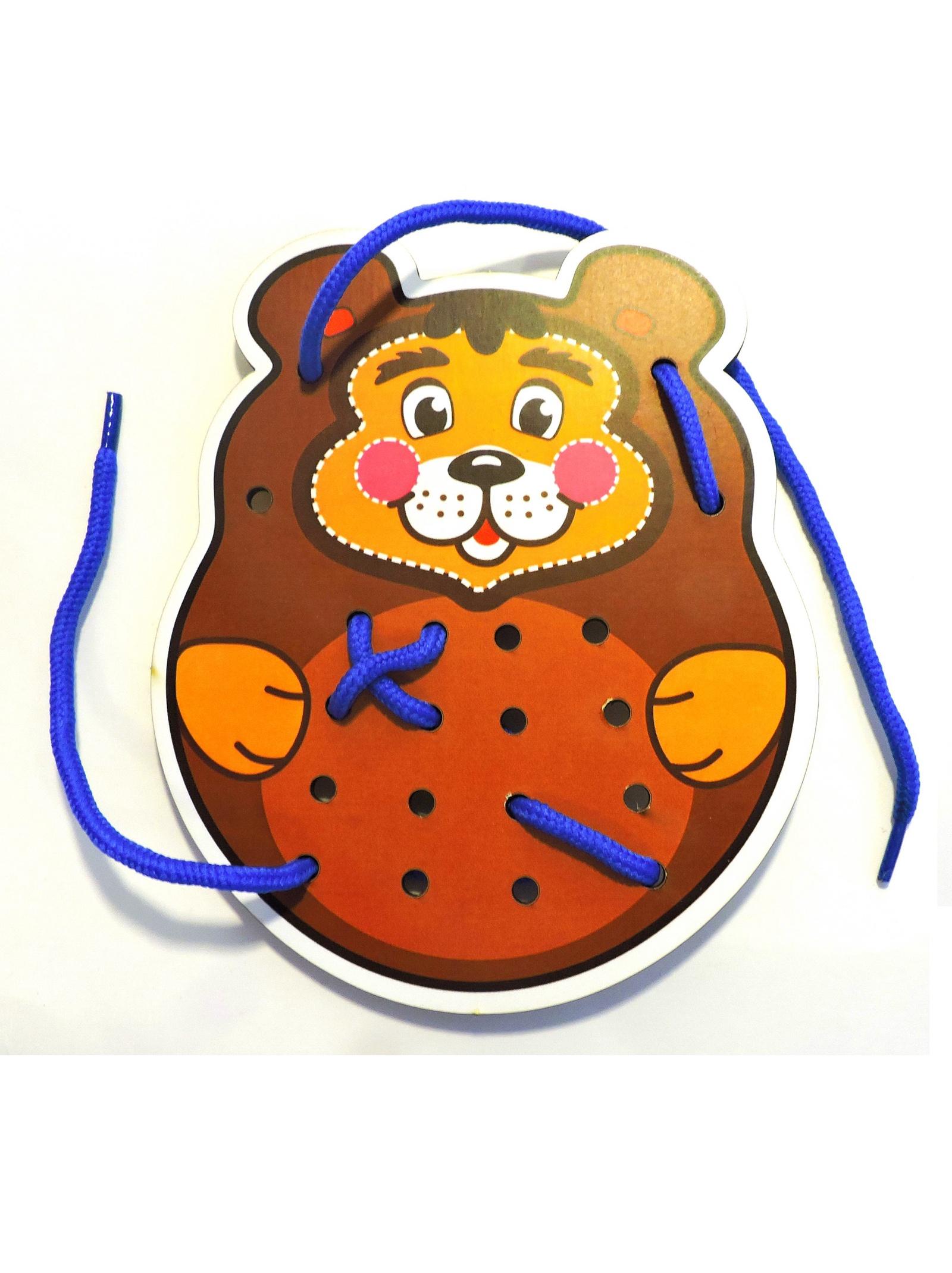 Шнуровка Taowa цветная Медведь коричневый