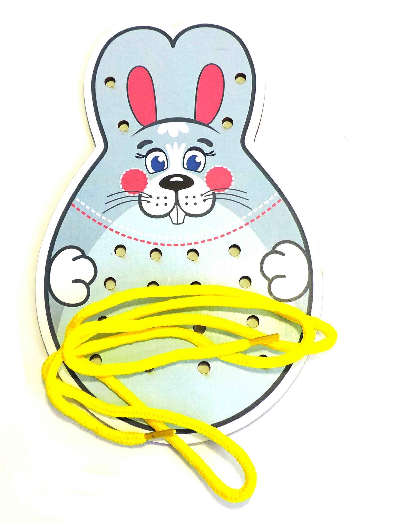Шнуровка Taowa цветная Заяц серый