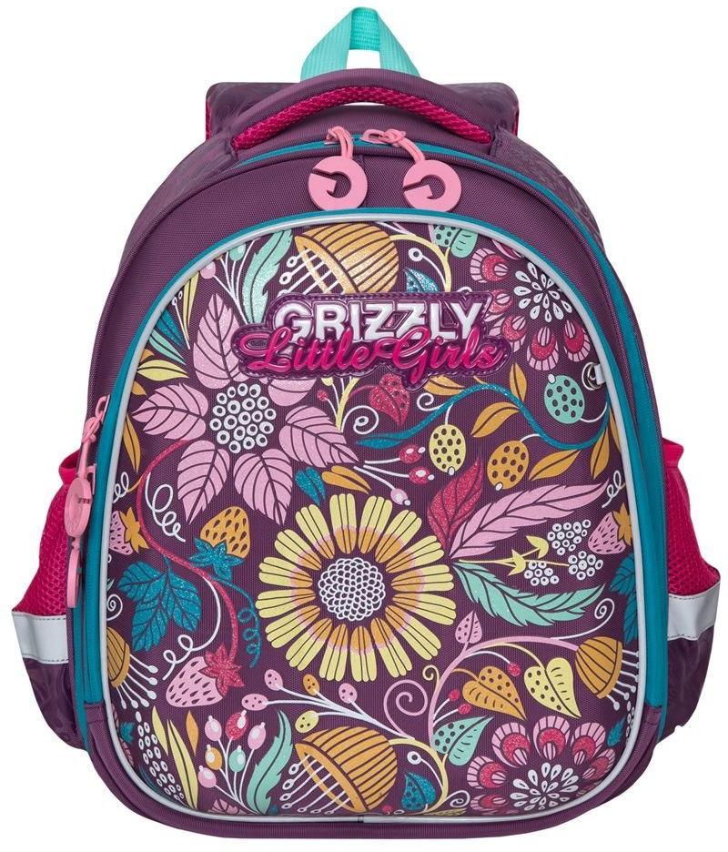 Рюкзак школьный Grizzly, фиолетовый, 19,5 л