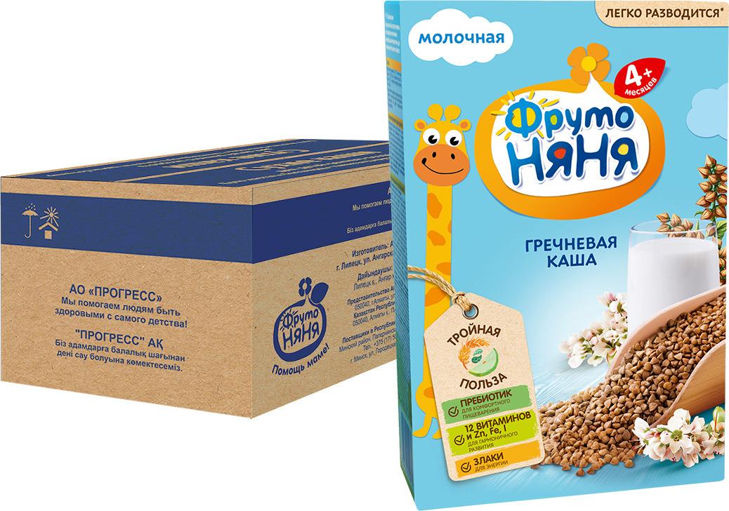 Каша ФрутоНяня гречневая молочная с 4 месяцев, 9 шт по 200 г цена в Москве и Питере