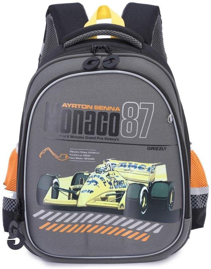 Рюкзак школьный Grizzly, серый, 19,5 л