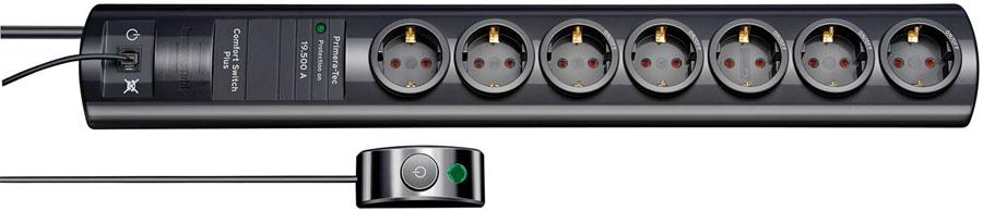 1153300467 Brennenstuhl сетевой фильтр Primera-Tec 19.500А,2 м.,7 розеток,ножной выкл.,черный,IP20