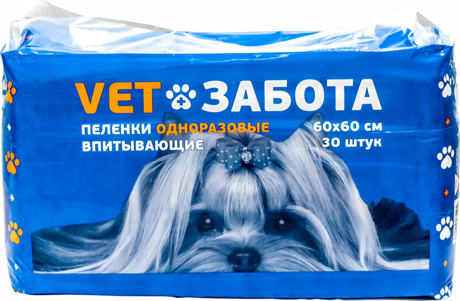 Одноразовая пеленка для животных Vetзабота Basic, 60 х 60 см, 30 шт