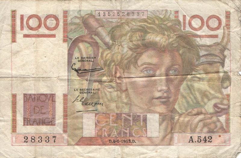 Банкнота номиналом 100 франков. Франция. 1945-1954 года банкнота номиналом 1 крузейро подпись тип 2 бразилия 1954 1958 года