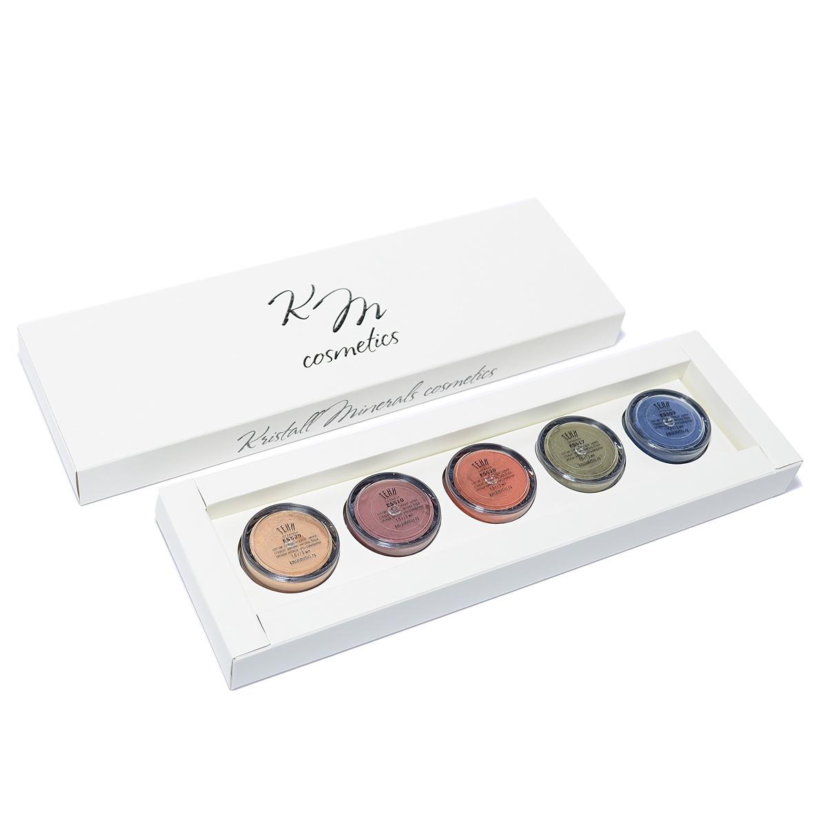 """Тени для век KRISTALL MINERALS cosmetics Набор теней для глаз """"Мармеладное ассорти"""", минеральная косметика, в картонной коробочке, 5 пластиковых баночек по 1,5 г."""