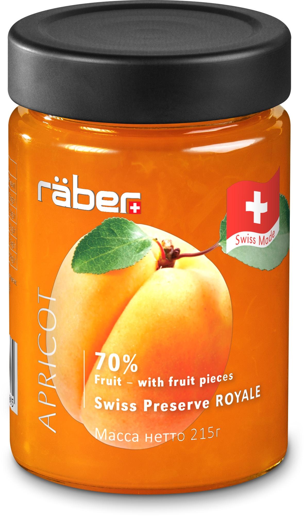 """Джем Raber -швейцарский """"Royale"""" из абрикосов , содержание фруктов 70% Стеклянная банка, 215 г"""