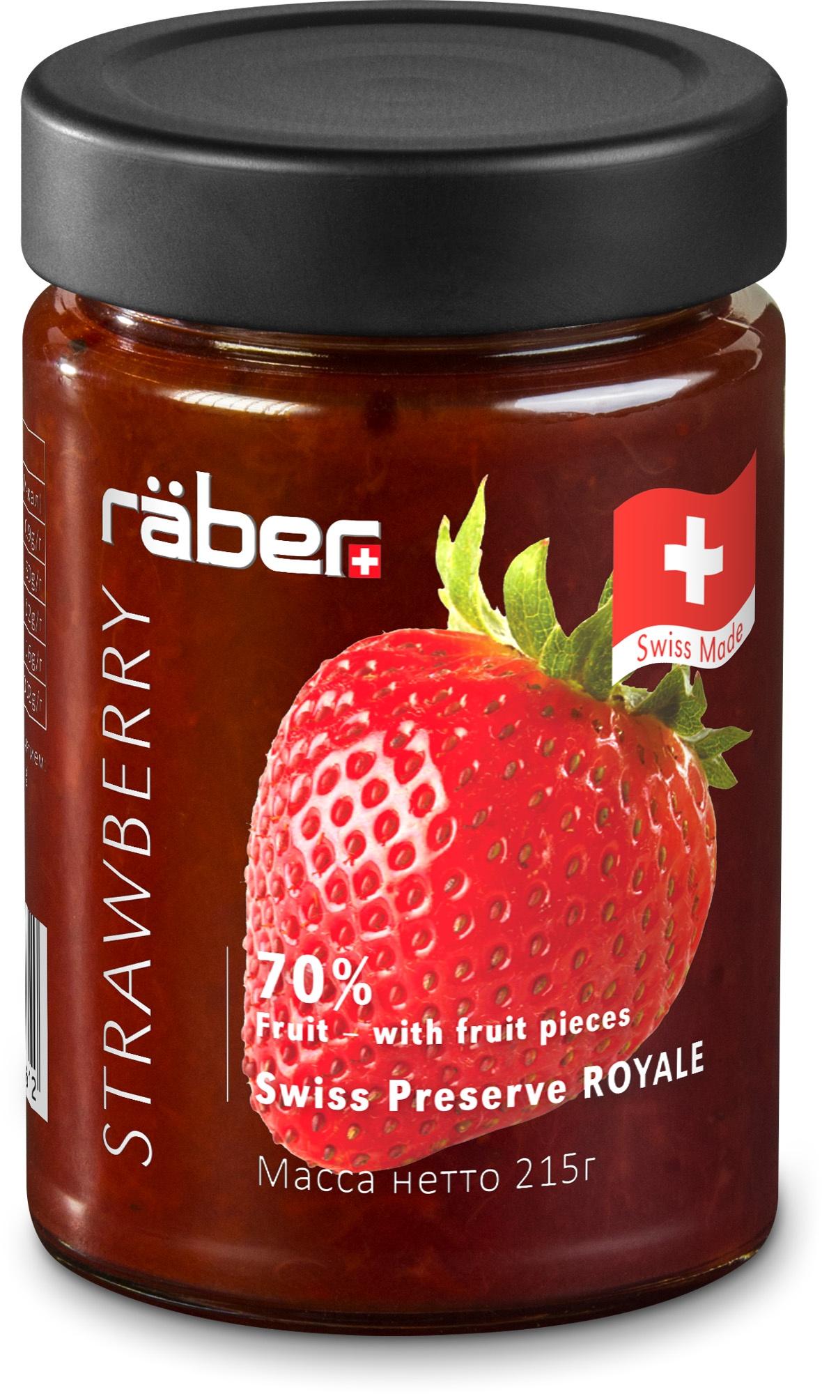 """Джем Raber -швейцарский """"Royale"""" из клубники , содержание фруктов 70% Стеклянная банка, 215 г"""