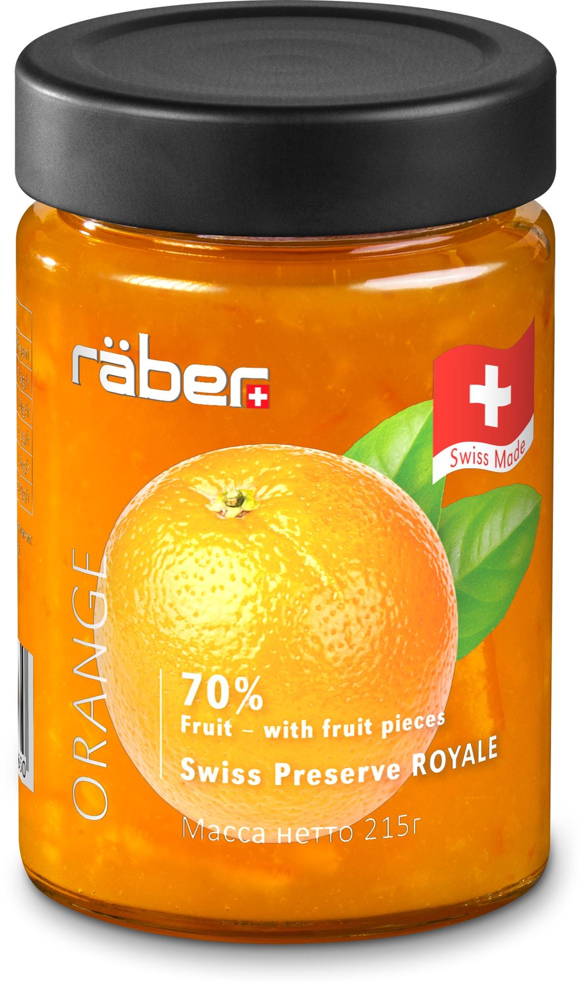 """Джем Raber -швейцарский мармелад """"Royale"""" из апельсинов , содержание фруктов 70% Стеклянная банка, 215 г"""