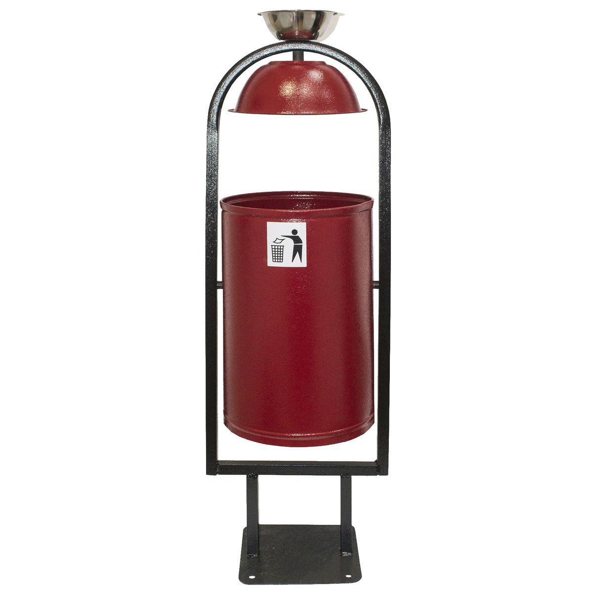 Урна Рубин, с крышкой и пепельницей, 004013, красный, 21 л