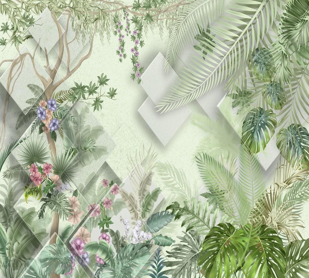 Фотообои Design Studio 3D Геометрия в тропиках пользовательские обои mural 3d wall mural природные пейзажи водопады и зеленое дерево обои для рабочего стола нетканые настенные пок