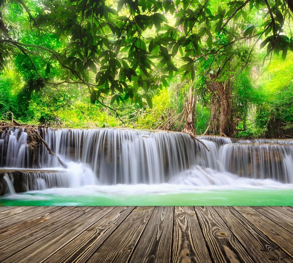 Фотообои Design Studio 3D Мостик у водопада пользовательские обои mural 3d wall mural природные пейзажи водопады и зеленое дерево обои для рабочего стола нетканые настенные пок