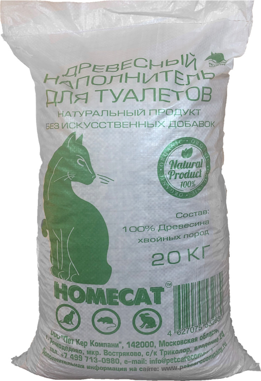 Наполнитель для кошачьего туалета Homecat, древесный, 20 кг наполнитель для туалета кошачьего