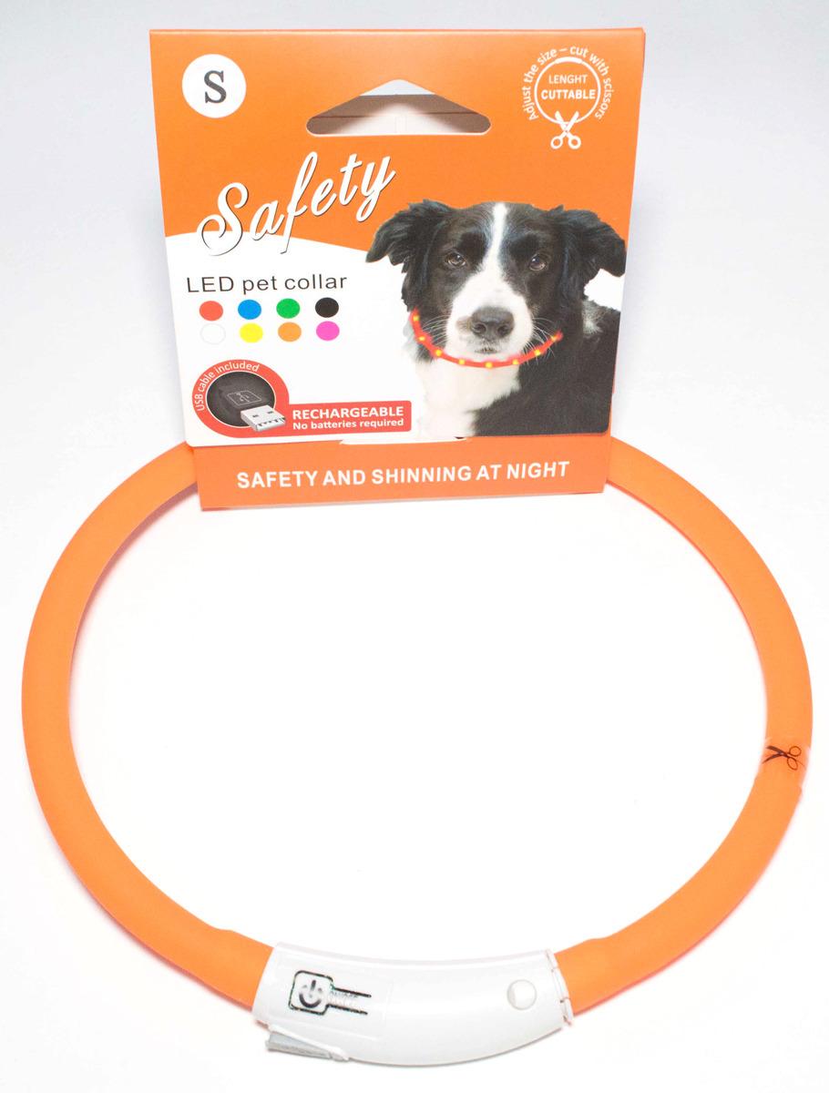 Ошейник для собак Meijing Aquarium, светящийся, с USB-зарядкой, JPF-008UL-orange, оранжевый недорого