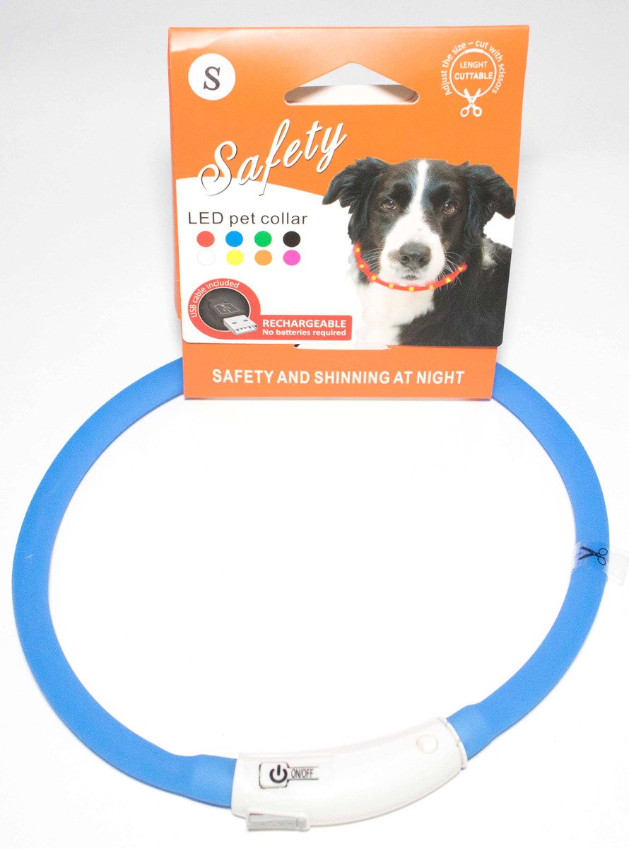 Ошейник для собак Meijing Aquarium, светящийся, с USB-зарядкой, JPF-008UM-blue, голубой недорого