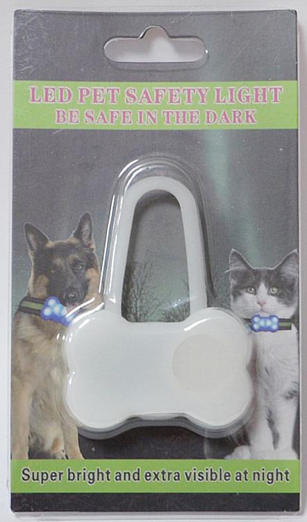 Брелок-подвеска на ошейник для собак Meijing Aquarium Косточка, светящийся, JPL-079B, голубой