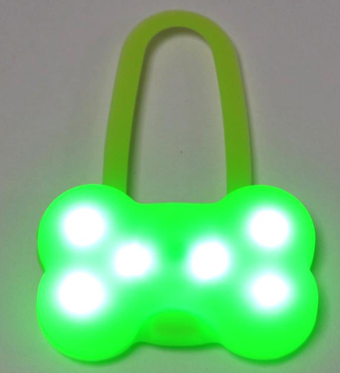 Брелок-подвеска на ошейник для собак Meijing Aquarium Косточка, светящийся, JPL-079G, зеленый