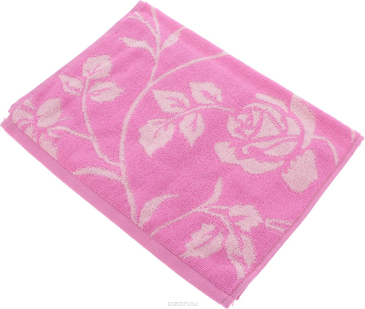 Полотенце Aquarelle Розы 2, цвет: розовый, белый, 70 х 140 см. 710656 полотенце махровое aquarelle волна цвет ваниль 70 x 140 см