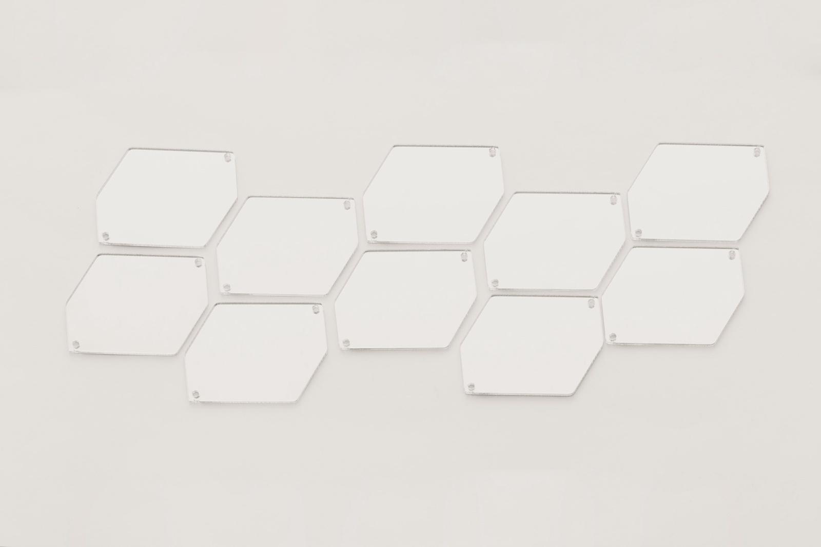 CASP Lase ШЕСТ3525 Комплект акриловых пришивных зеркал/страз Шестиугольник 35х25