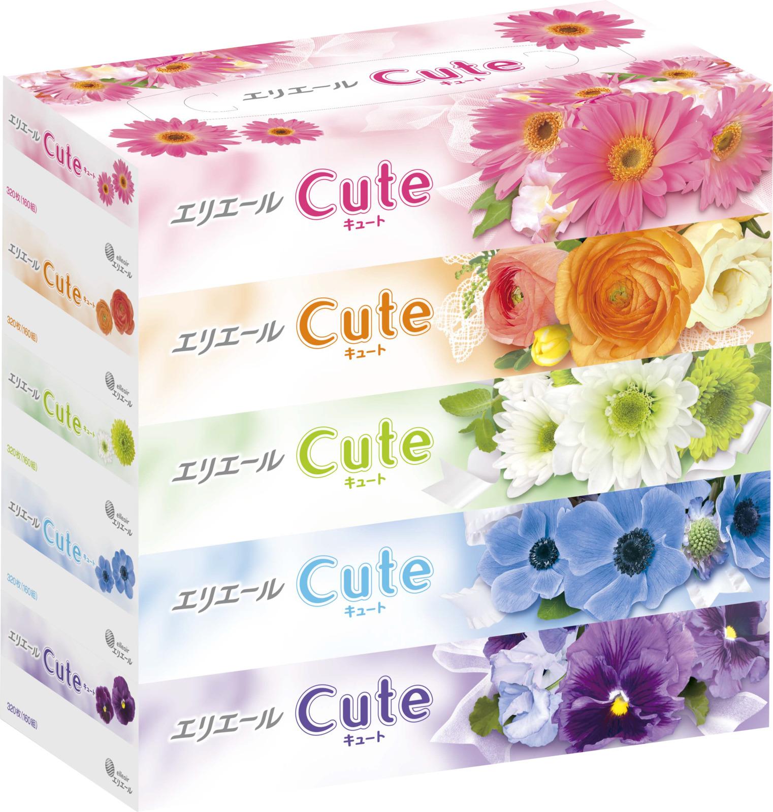 Салфетки бумажные Elleair Cute, в коробке, 5 пачек по 160 шт салфетки бумажные nega нетканные без отдушки 50 шт