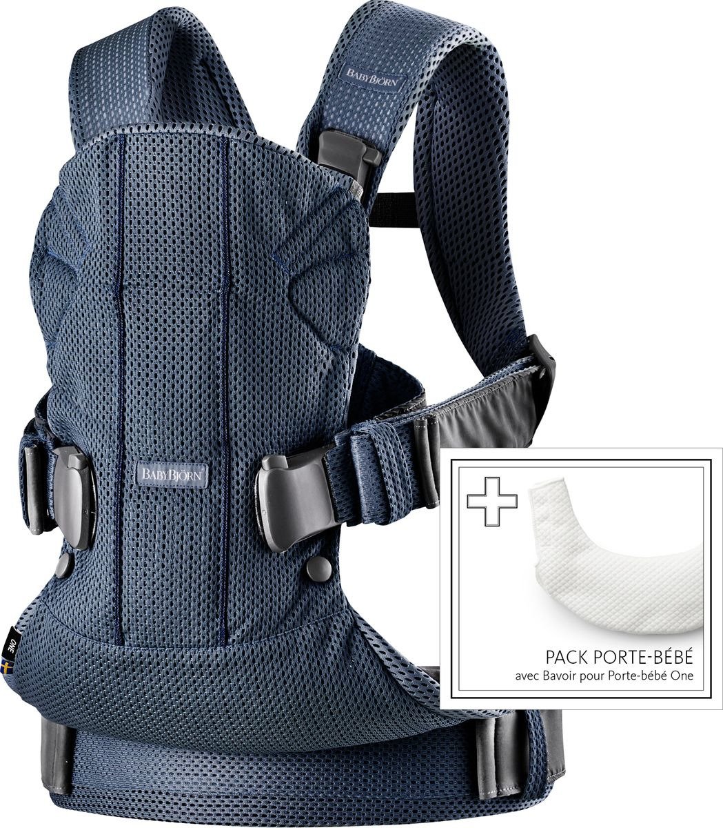 Рюкзак-переноска BabyBjorn Baby carriers One + нагрудник, темно-синий babybjorn baby bjorn miracle рюкзак переноска черный с серебряным
