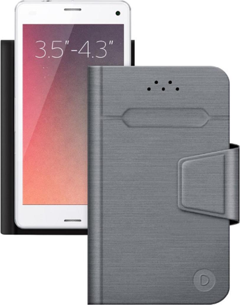 """Чехол-книжка Deppa WalletFold универсальный для смартфонов 3.5-4.3"""" , серый"""
