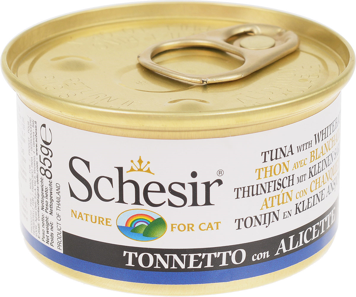 Корм консервированный Schesir, для кошек, тунец со снетками, 85 г консервы schesir для кошек 85 г 85 г куриное филе и ветчина