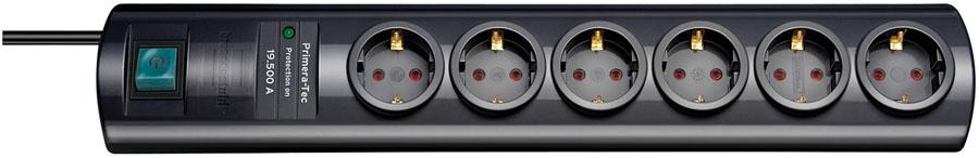 1153300456 Brennenstuhl сетевой фильтр Primera-Tec 19.500А,2 м.,6 розеток,выкл.,черный,IP20
