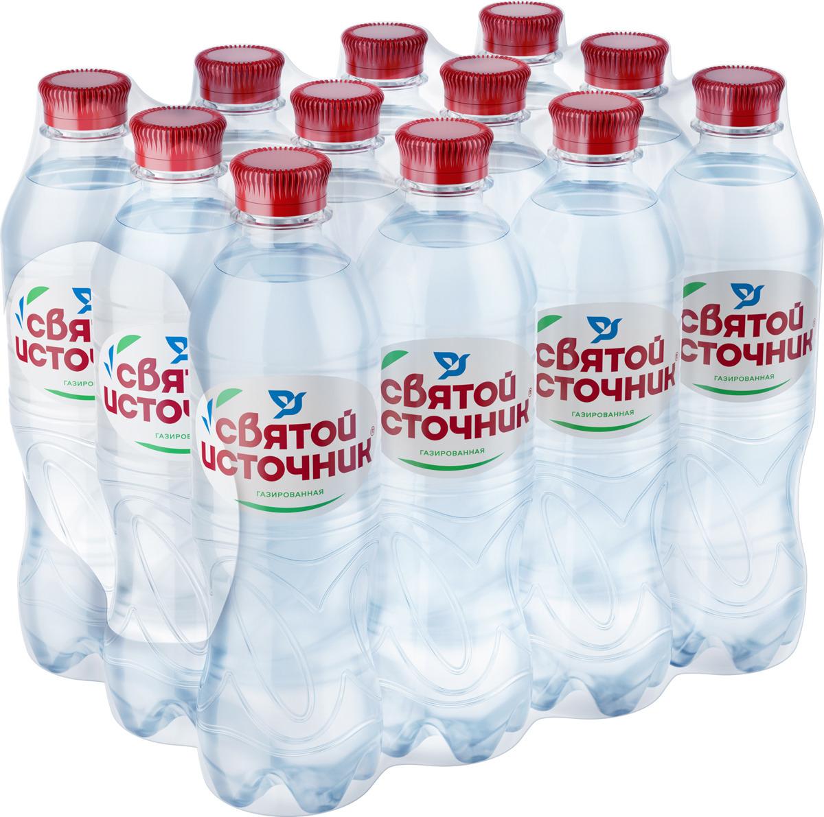 СвятойИсточник водаприродная питьевая газированная, 12 шт по 0,5 л