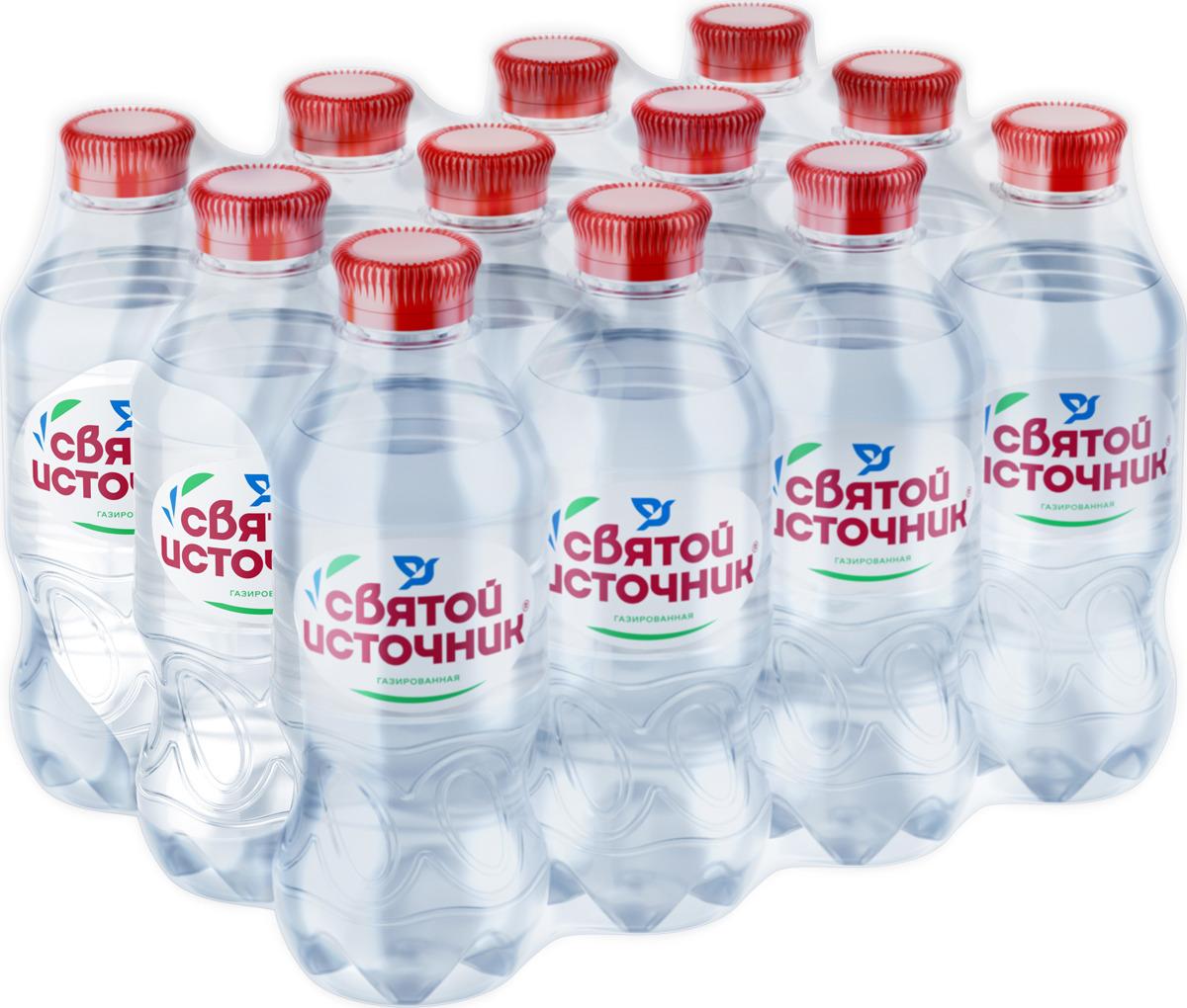 СвятойИсточник водаприродная питьевая газированная, 12 шт по 0,33 л