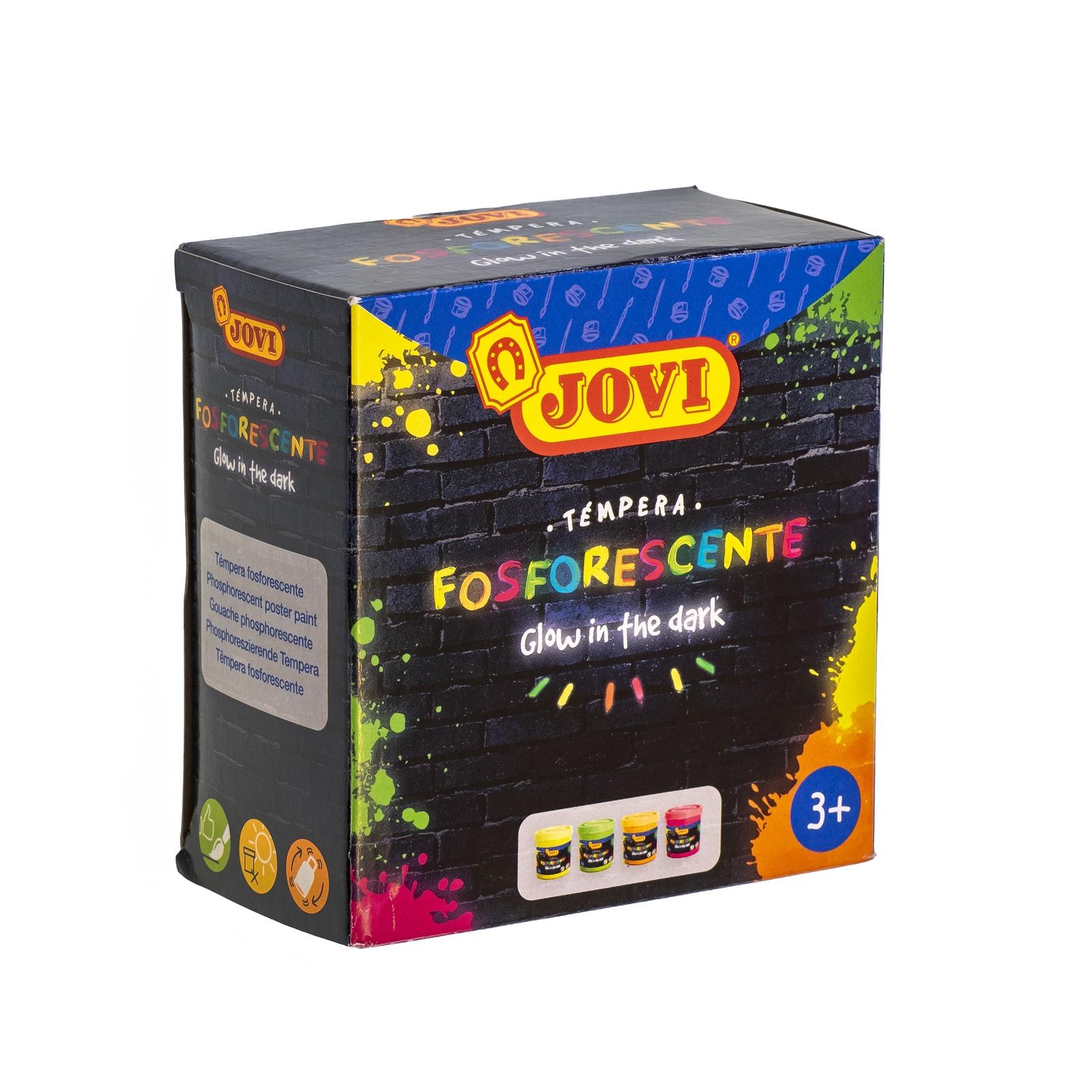Гуашь JOVI фосфоресцентная светящаяся в темноте 4 цв х55мл краски jovi краски для рисования руками jovi 5 цв 35 мл