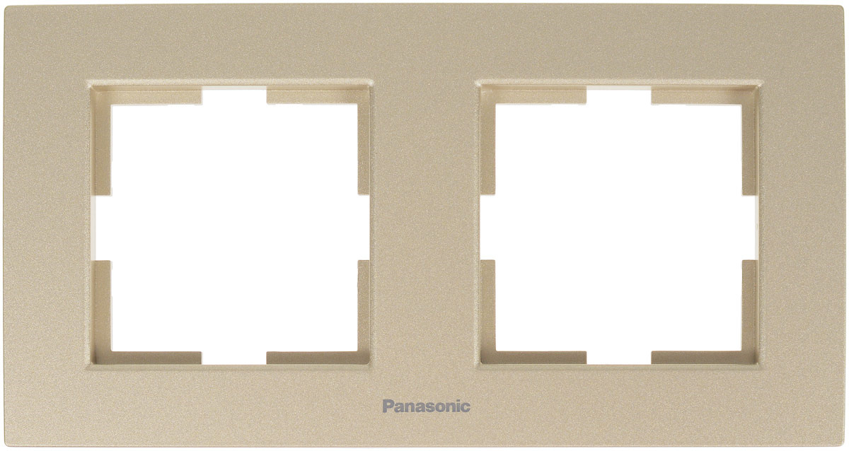 Рамка электроустановочная Panasonic Karre Plus, горизонтальная, цвет: бронзовый, на 2 поста. 54791 рамка для розеток и выключателей горизонтальная 1 пост цвет бежевый