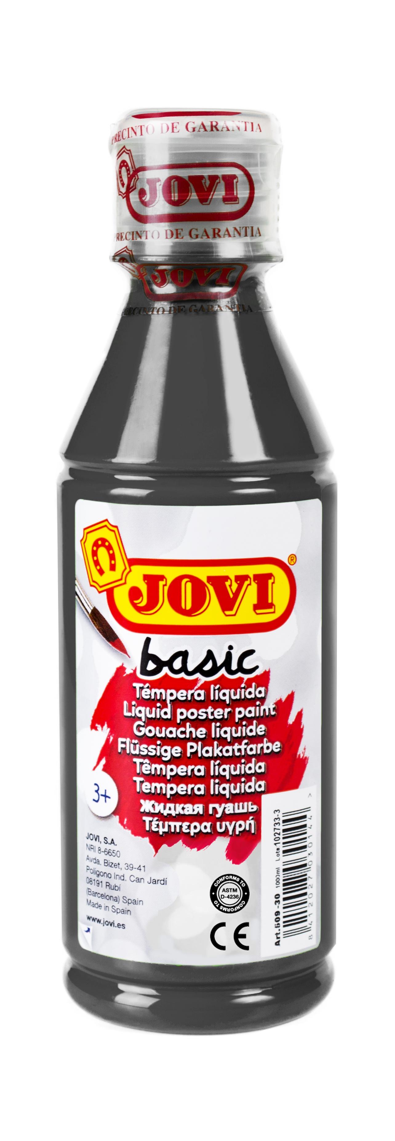 Гуашь JOVI школьная черная 250 мл в пластиковой бутылке