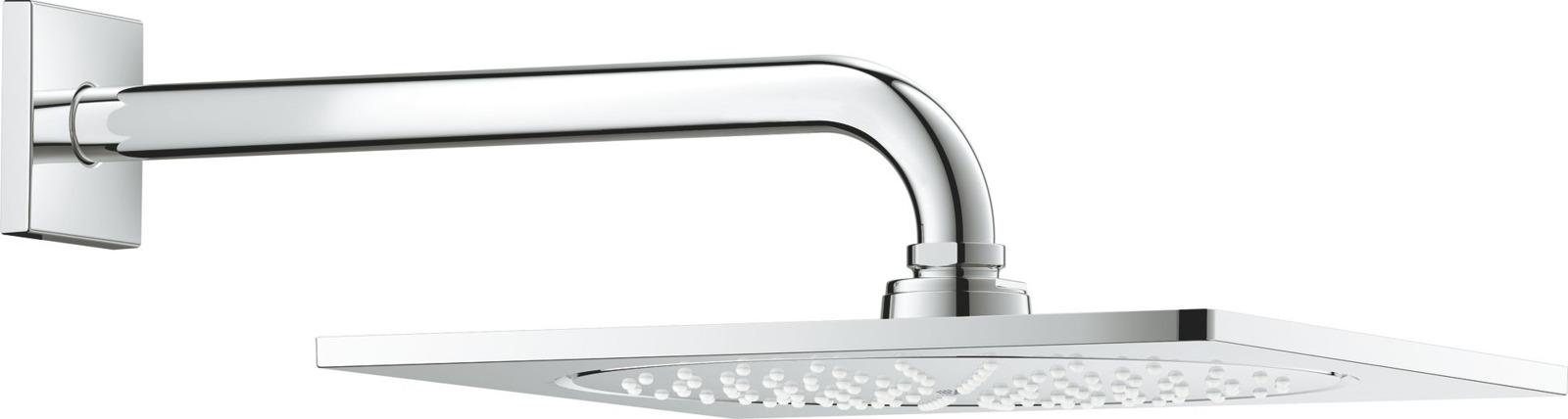 Душевой комплект Grohe Rainshower F-series 10 Верхний душ + Душевой кронштейн, 26070000, серебристый верхний душ grohe rainshower f series 26061000