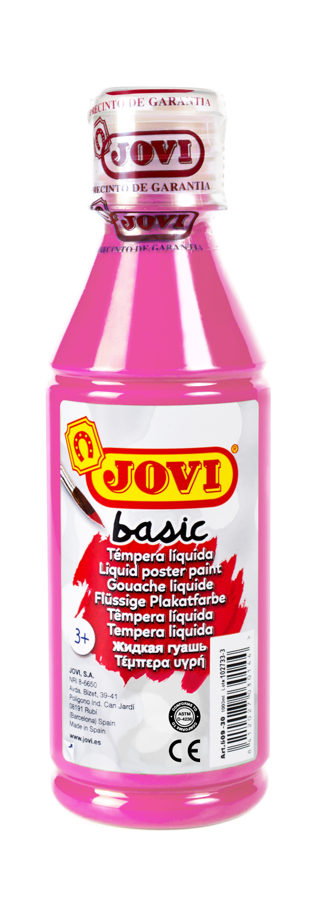 Гуашь JOVI школьная маджента 250 мл в пластиковой бутылке