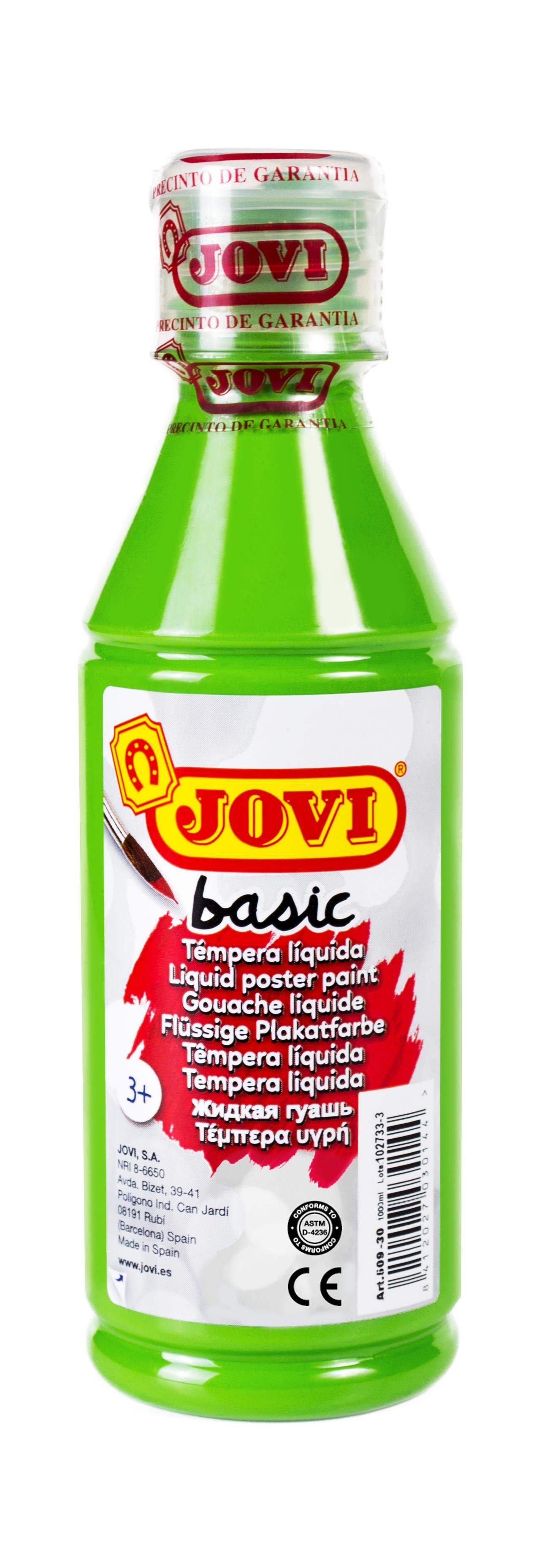 Гуашь JOVI школьная зеленая 250 мл в пластиковой бутылке