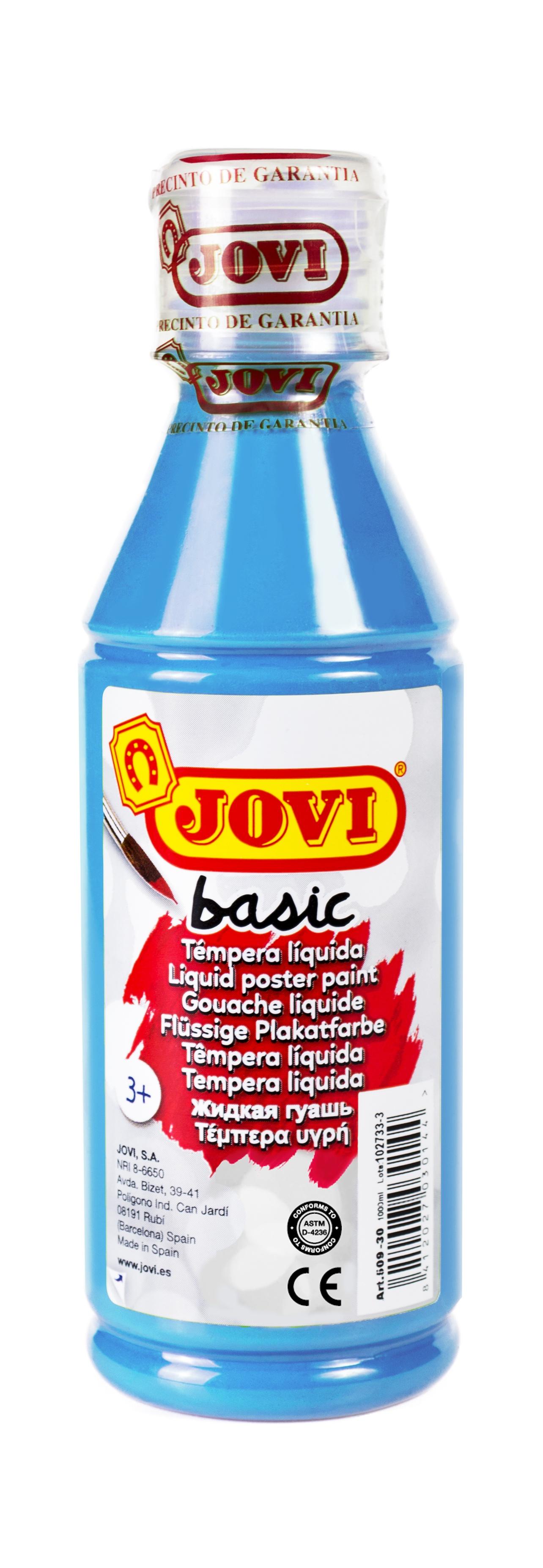 Гуашь JOVI школьная голубая 250 мл в пластиковой бутылке
