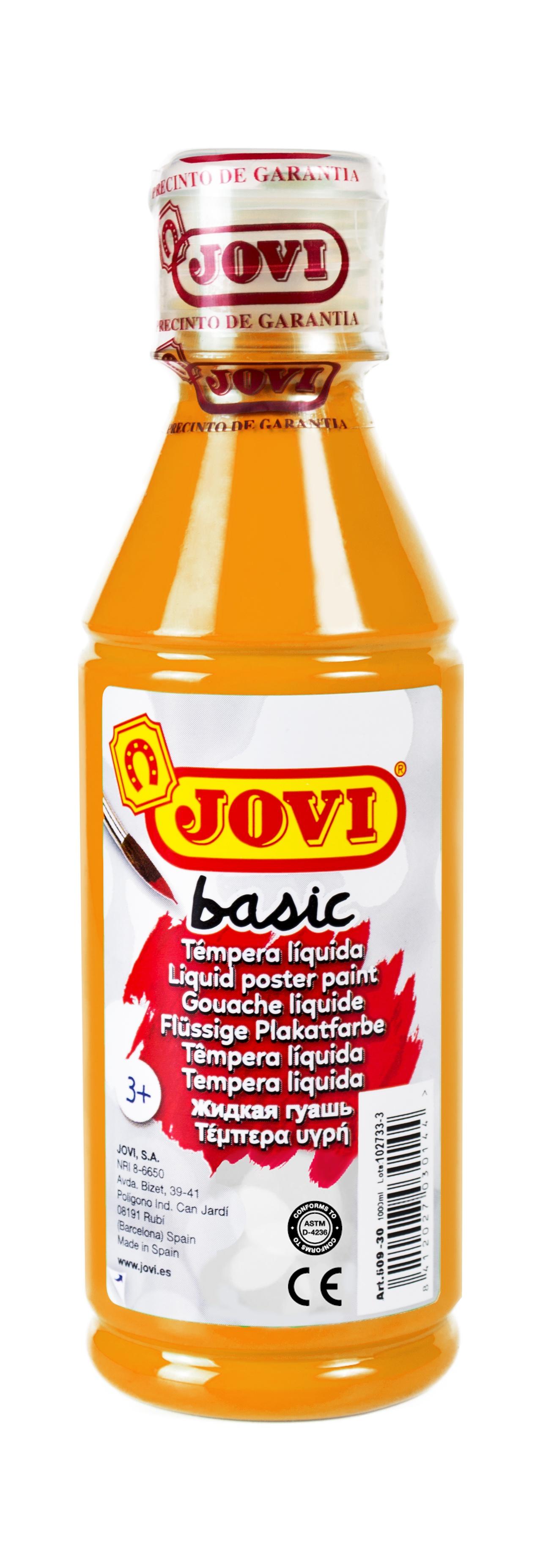 Гуашь JOVI школьная оранжевая 250 мл в пластиковой бутылке