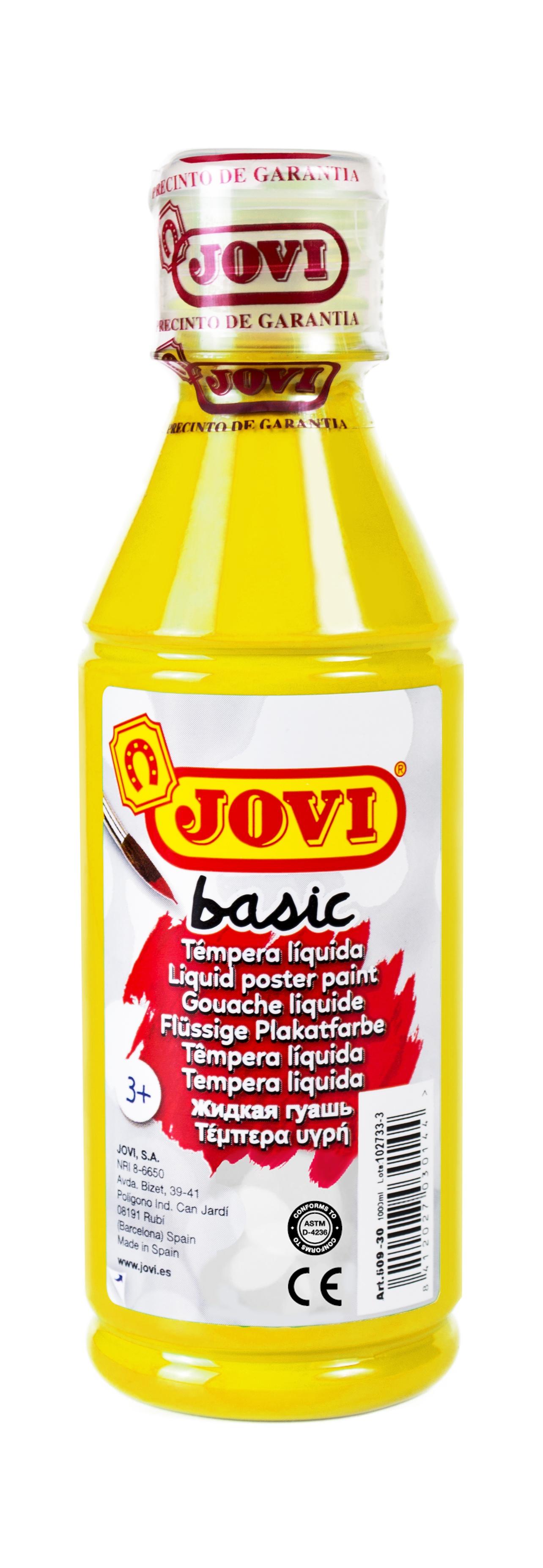 Гуашь JOVI школьная желтая 250 мл в пластиковой бутылке