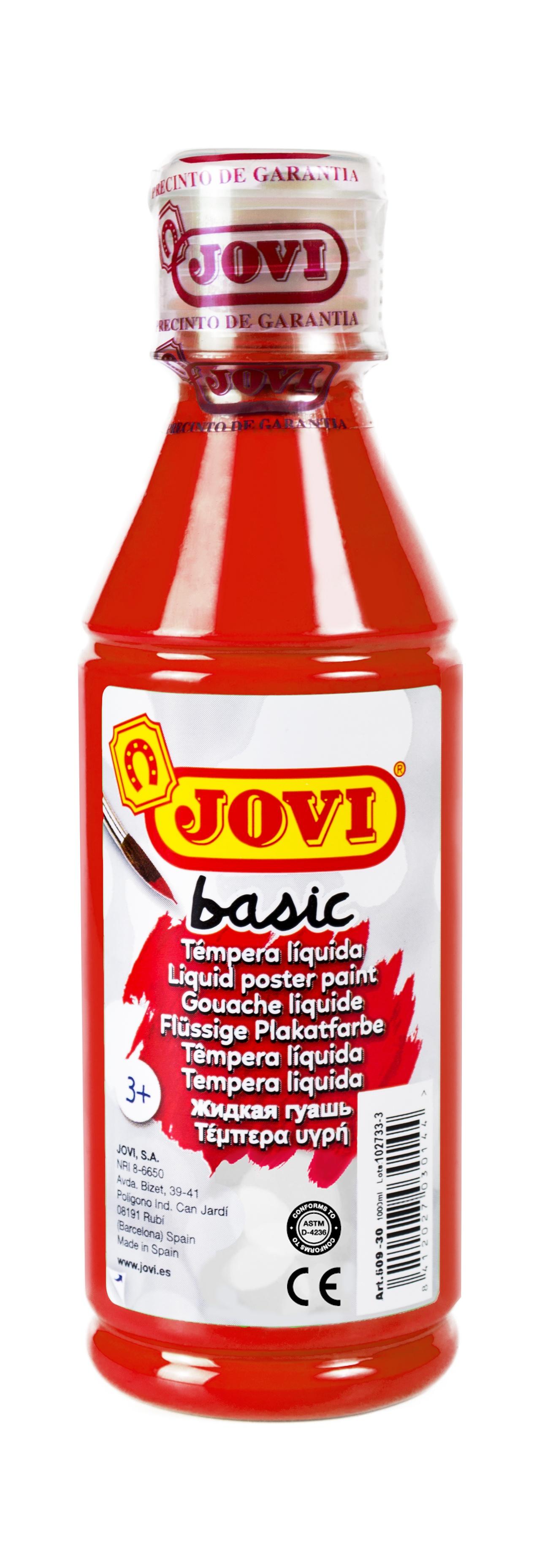 Гуашь JOVI школьная красная 250 мл в пластиковой бутылке